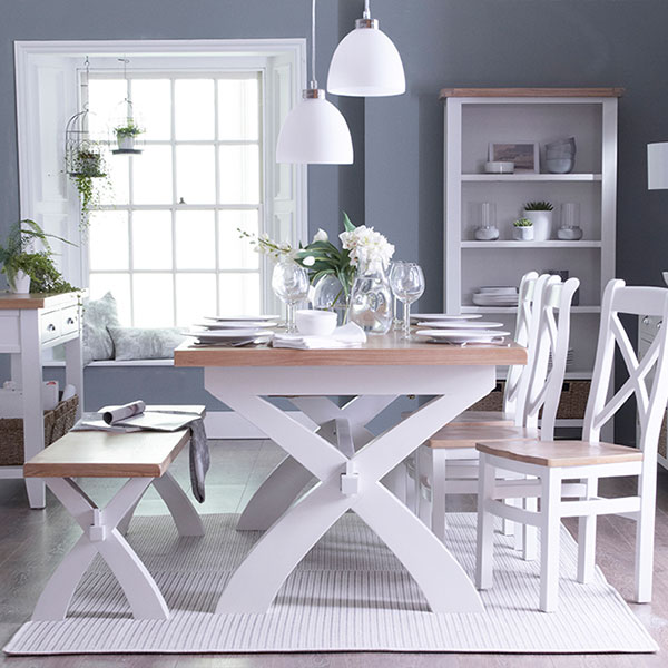 Florence Oak Dining Room in White