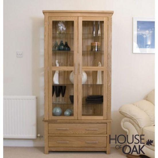 Opus Solid Oak Glass Display Cabinet