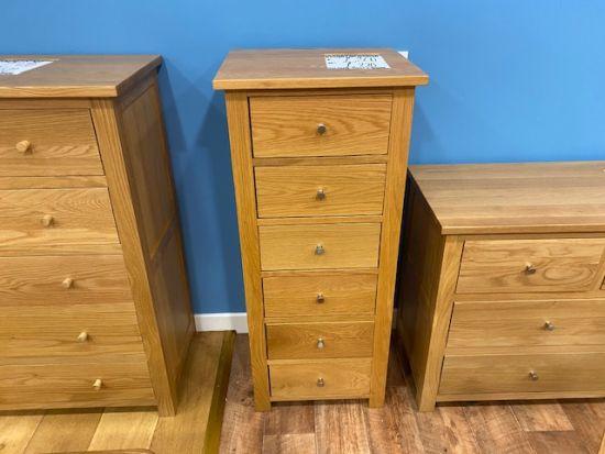 Aspen Oak 6 Drawer Narrow Chest