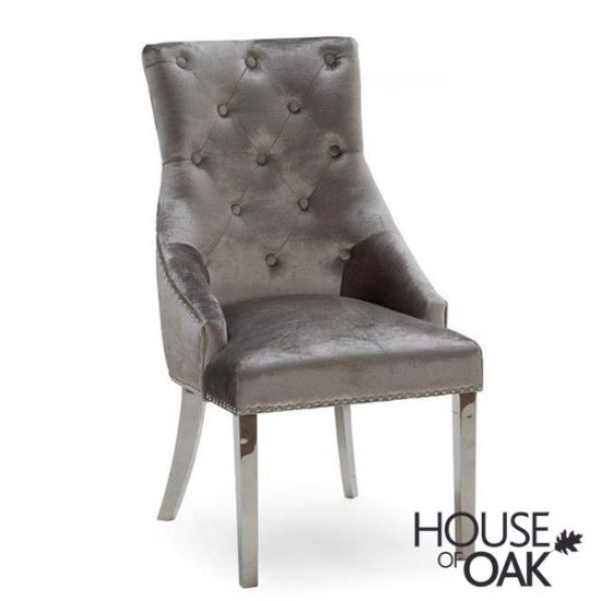 Arturo Grey Belvedere Dining Chair in Pewter Velvet