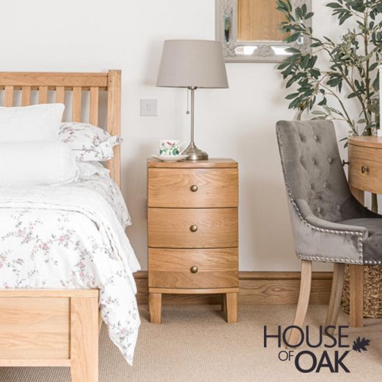 Bowness Oak 3 Drawer Bedside Cabinet