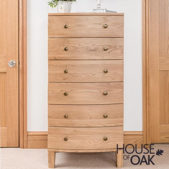 Bowness Oak 6 Drawer Tallboy Chest