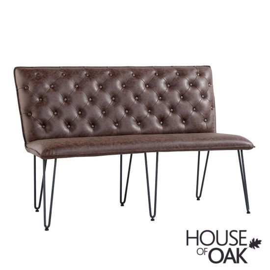 140cm Studded Back Bench in Brown