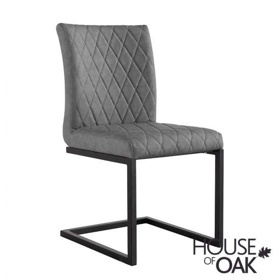 Parquet Oak Diamond Stitch Cantilever Chair in Grey