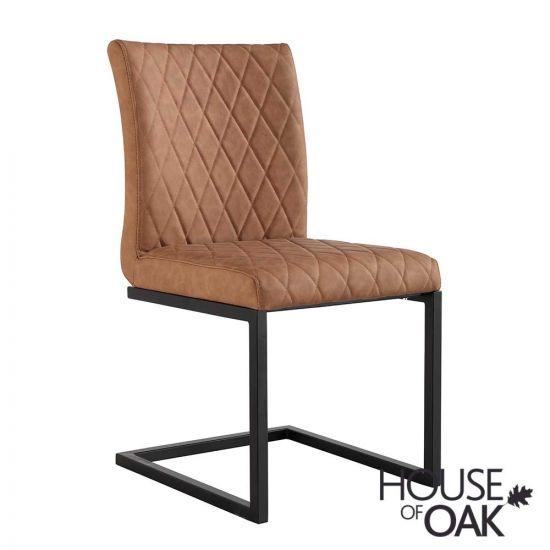 Parquet Oak Diamond Stitch Cantilever Chair in Tan