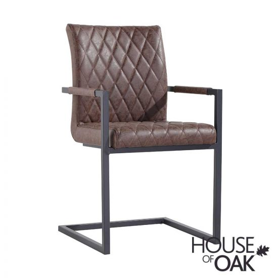 Parquet Oak Diamond Stitch Cantilever Carver Chair in Brown