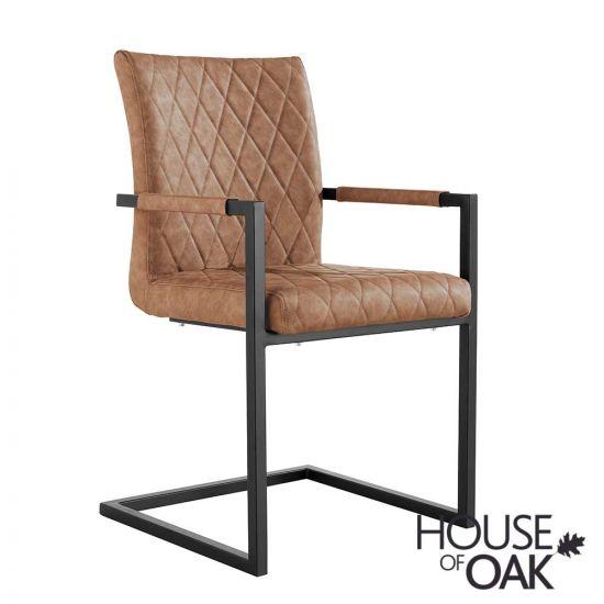 Parquet Oak Diamond Stitch Cantilever Carver Chair in Tan