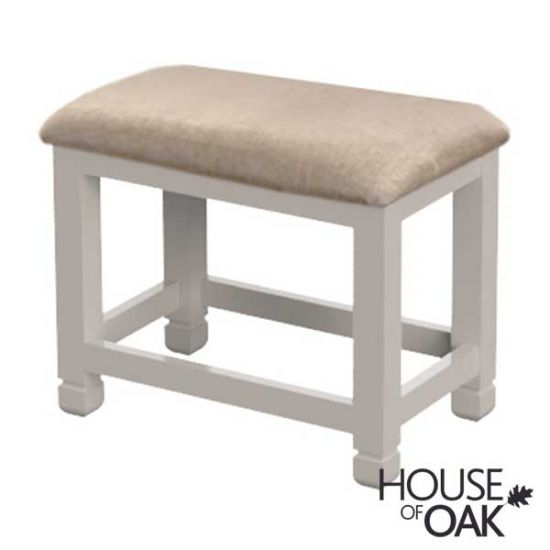 Kirkstone Winter Mist Dressing Table Stool with Beige Fabric Seat Pad