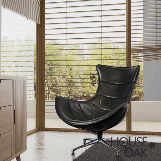 Costello Occasional Chair in Black Leather