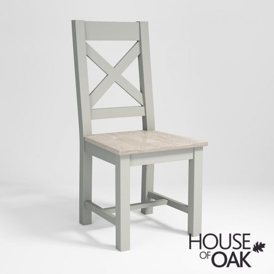 Ella Chalked Oak & Misty Grey -  Crossback Dining Chair with an Oak Seat