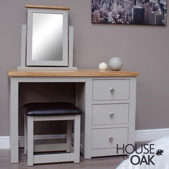 Diamond Grey Dressing Table with Stool