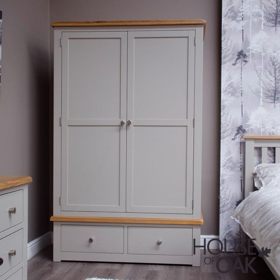 Diamond Grey Double Wardrobe with 2 Drawers