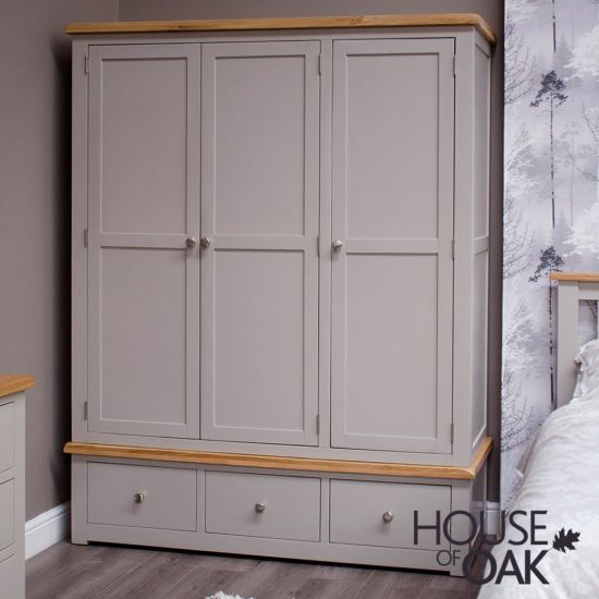 Diamond Grey Triple Wardrobe with 3 Drawers