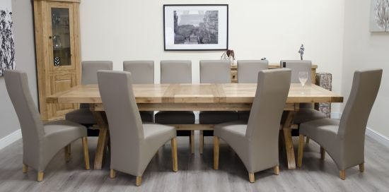Deluxe Oak Super X Leg Extending Table