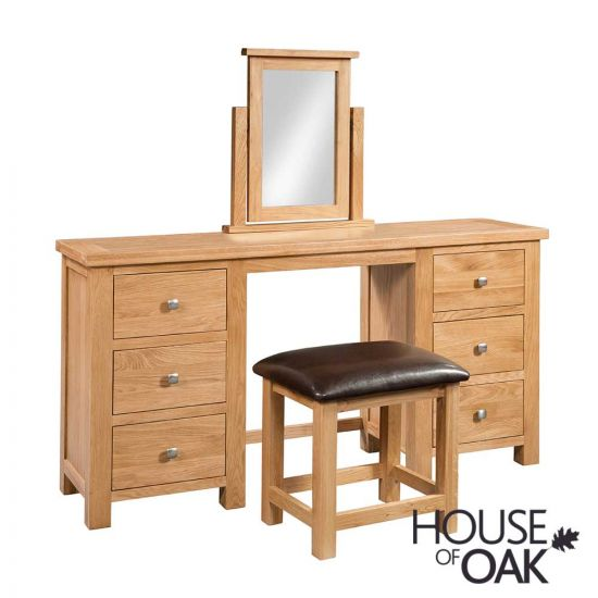 Keswick Oak Double Pedestal Dressing Table with Stool and Mirror