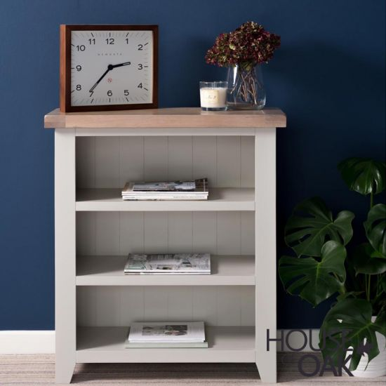 Ella Chalked Oak & Misty Grey - Small Bookcase
