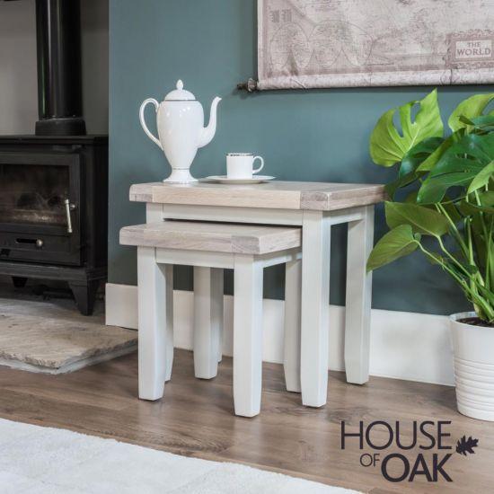 Ella Chalked Oak & Misty Grey - Nest of 2 Tables