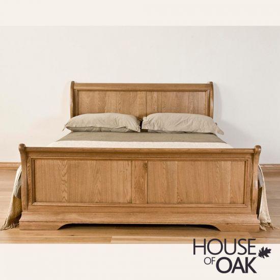 Paris Solid Oak 4FT 6'' Double Sleigh Bed
