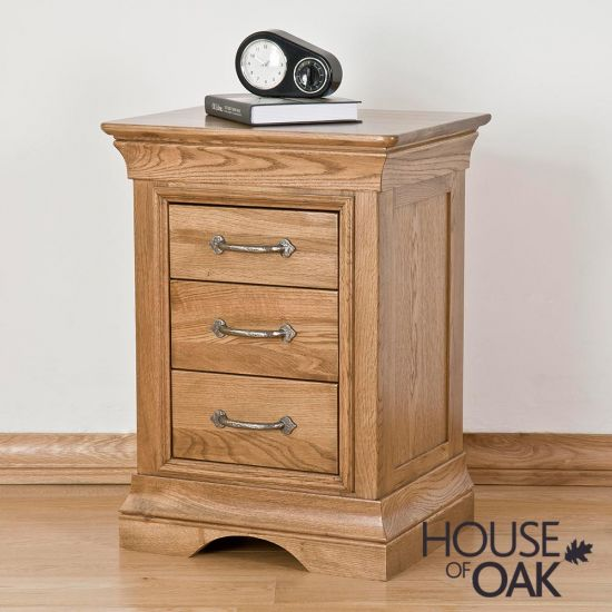 Paris Solid Oak 3 Drawer Bedside