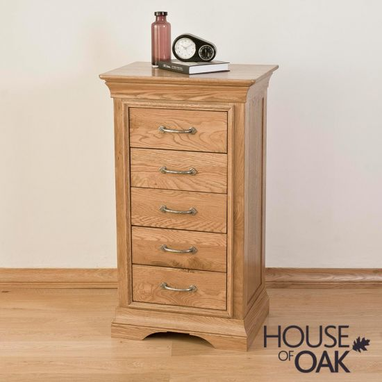 Paris Solid Oak 5 Drawer Narrow Chest