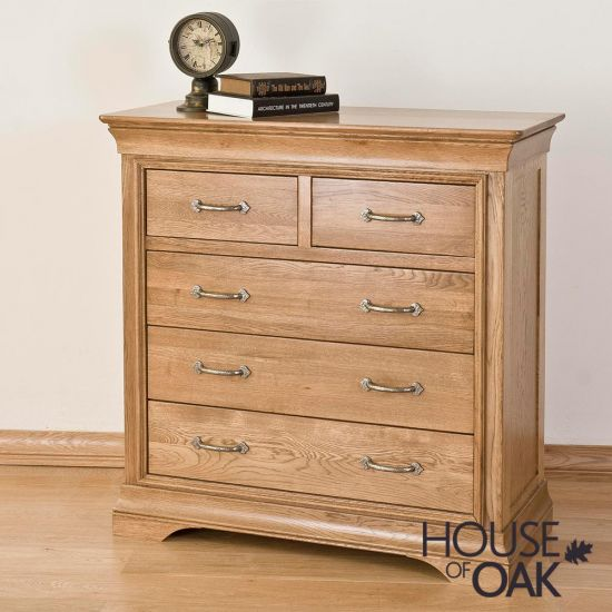 Paris Solid Oak 2 Over 3 Chest of Drawers