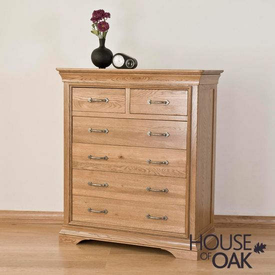 Paris Solid Oak 2 Over 4 Chest of Drawers