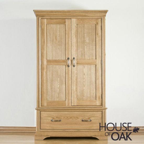 Paris Solid Oak 2 Door 1 Drawer Wardrobe
