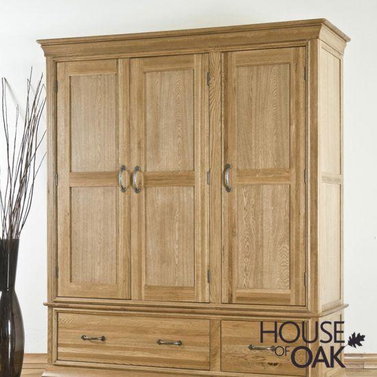 Paris Solid Oak 3 Door Wardrobe with Drawers