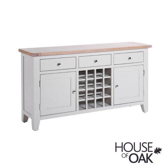 New Hampshire Chalked Oak & Light Grey Sideboard with Wine Rack