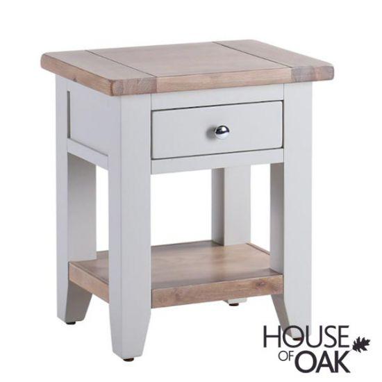 New Hampshire Chalked Oak & Light Grey 1 Drawer Lamp (Bedside) Table