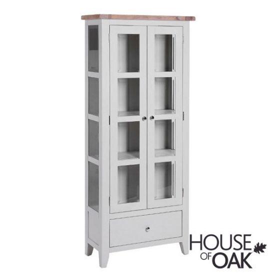 New Hampshire Chalked Oak & Light Grey Glazed Display Cabinet