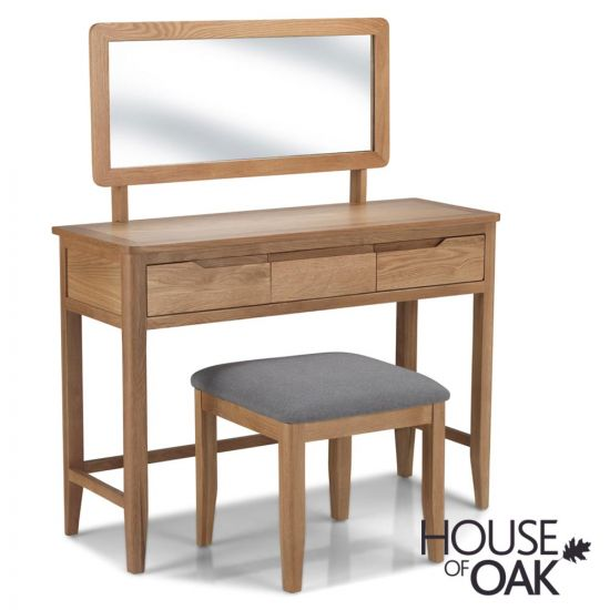 Copenhagen Oak Dressing Table with Mirror and Stool