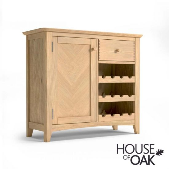 Malmo Oak Wine Rack With Drawer
