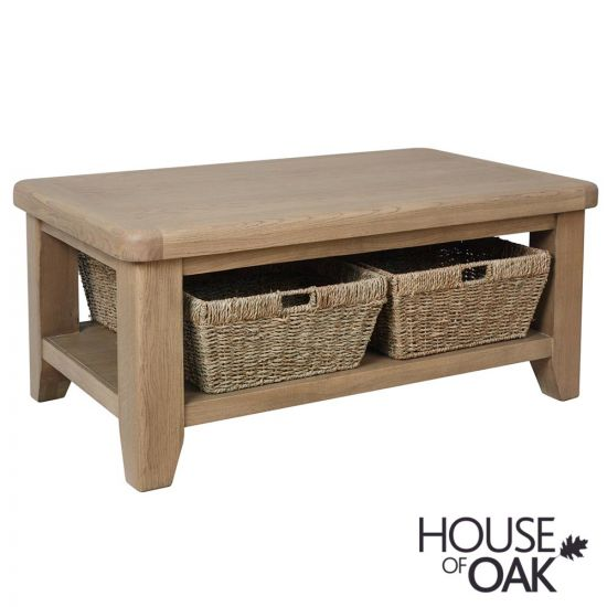 Chatsworth Oak Coffee Table with Baskets