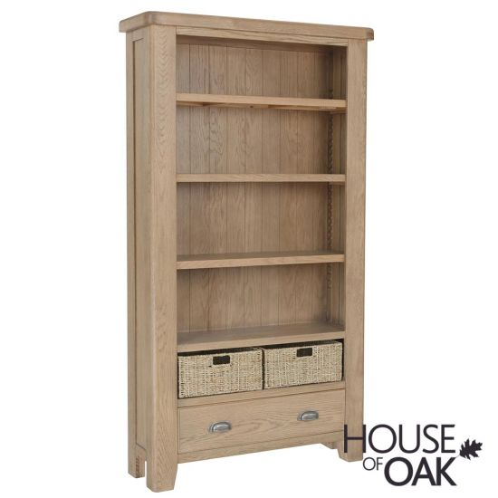 Chatsworth Oak Large Bookcase with 1 Drawer and Baskets