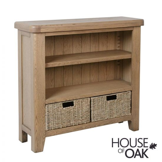 Chatsworth Oak Small Bookcase with Baskets