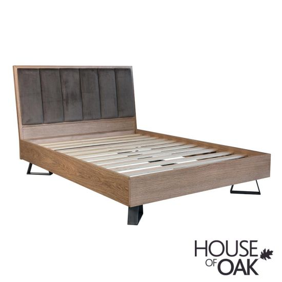 Parquet Oak 5FT King Size Bed with Fabric Headboard