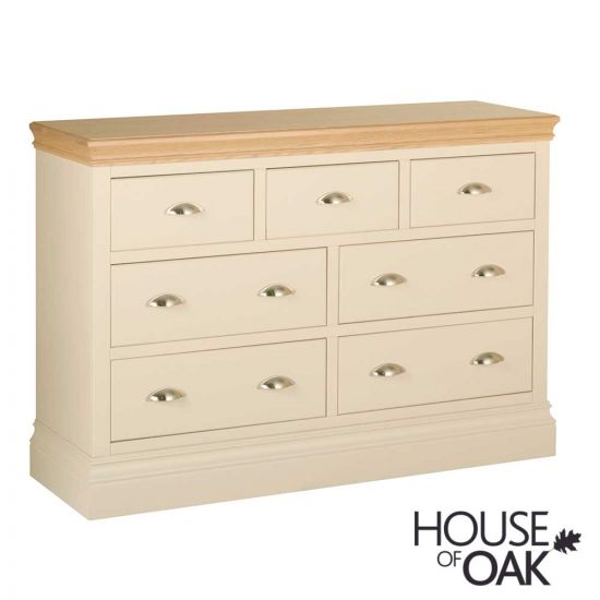 Ambleside 3 Over 4 Wide Chest of Drawers in Ivory