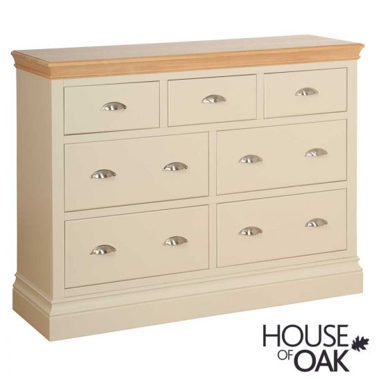 Ambleside 3 Over 4 Wide Jumbo Chest of Drawers in Ivory
