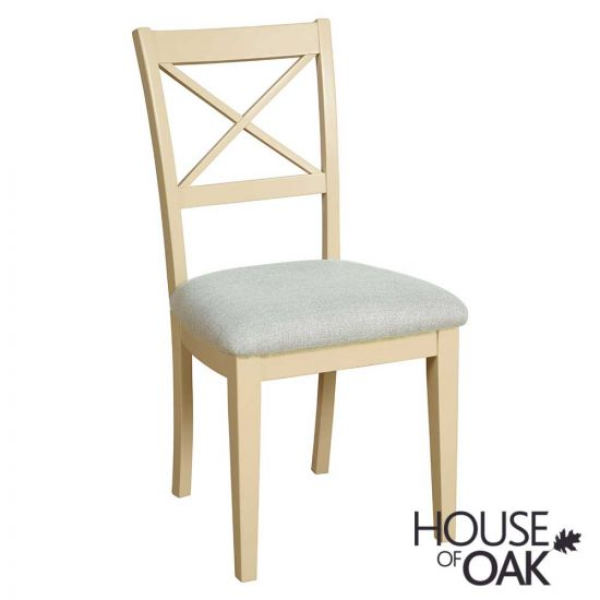 Ambleside Cross Back Dining Chair in Ivory with a Grey Fabric Seat Pad