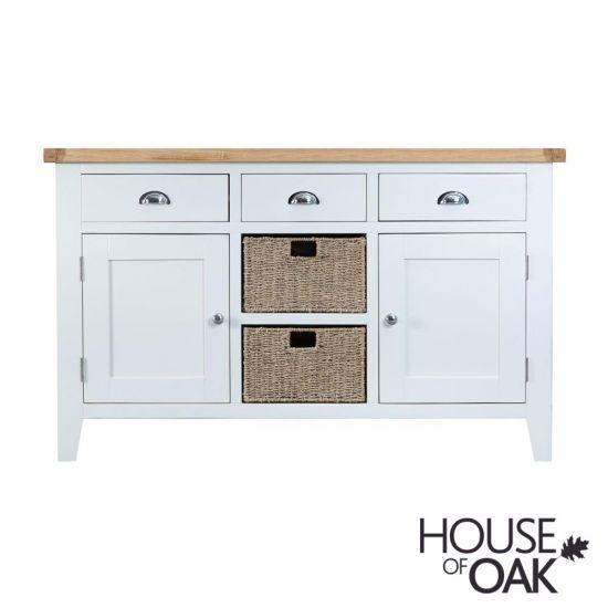 Florence Oak Large Sideboard - White Painted