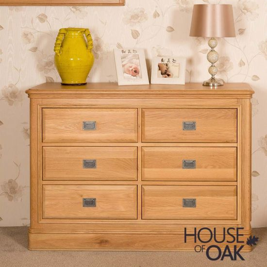 Lyon Oak 6 Drawer Wide Chest of Drawers