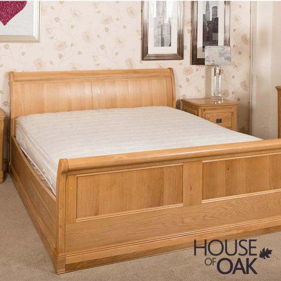 "Lyon Oak 4FT 6"" Double Sleigh Bed"
