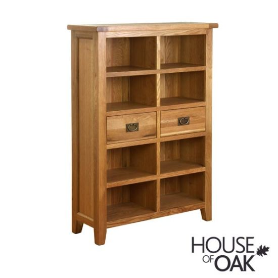 New Hampshire Oak 2 Drawer Wide Bookcase