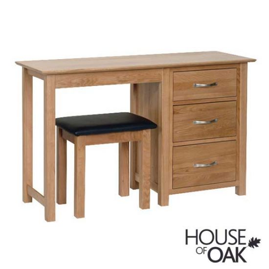 Coniston Oak Single Pedestal Dressing Table with Stool