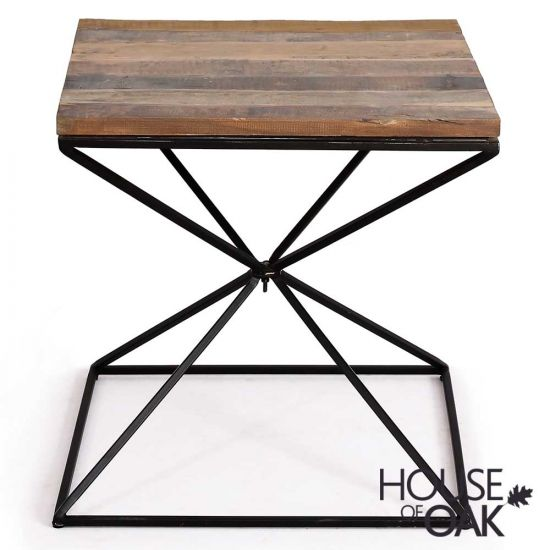 Cosgrove Reclaimed Wood Side Table with Metal Geometric Frame