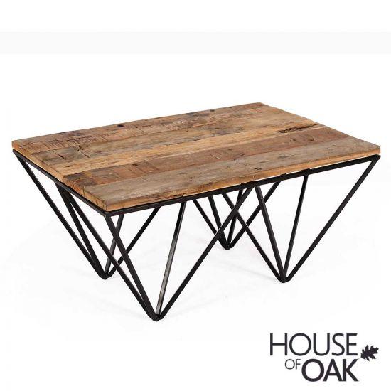 Cosgrove Reclaimed Wood Coffee Table with Metal Geometric Frame