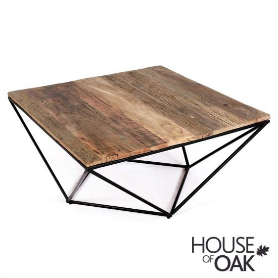 Cosgrove Large Reclaimed Wood Square Coffee Table with Metal Geometric Frame