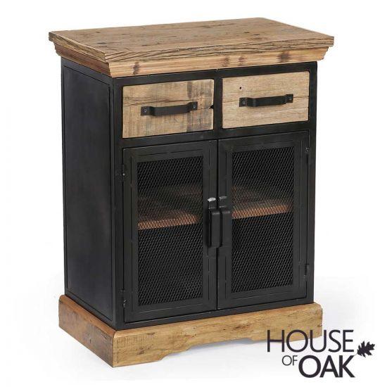 Cosgrove Oak 2 Door Reclaimed Wood Cabinet With Mesh Metal Doors