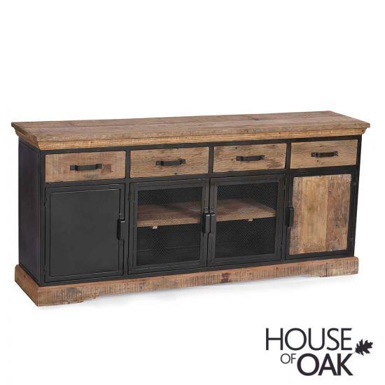 Cosgrove Large Reclaimed Wood 4 Drawer 4 Door Sideboard With Mesh Doors